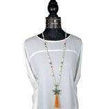 k-0047 Halskette lang, Jade weiß, gelb, Kristalle, weiß, orange, grün, Carneol, Muschelkernperlen, großer Seestern grün patiniert