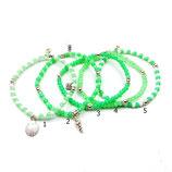 s-0010 Damen-Armband-SET, 5-teilig, Glaskristallrondelle in Grün und Weiß mit Muschelanhängern in Echtsilber (Sterlingsilber)