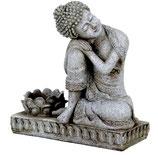 Meditation Buddha in Ruhe - mit Kerzenhalter - steingrau