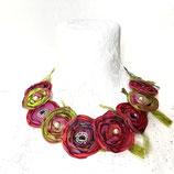 Blumenkollier rot/grün