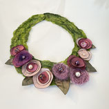 Blumenkollier Altrosa/ grün
