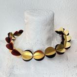 Kollier Textil Gold schwarz weinrot
