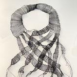 Leinenkollier  Longkette extravagant geklöppelt schwarz weiß