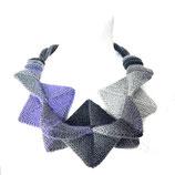 Kollier Statementkette violett/grau/schwarz