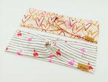 """Kinder Knoten Stirnband """"Herzen mit Goldglitzer & Flamingo mit Streifen"""""""