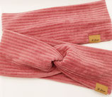 """Stirnband & Knotenstirnband """"Cord-Samt rose"""""""
