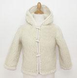 Gilet capuche enfant en laine naturelle de mouton blanc cassé