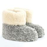 Chaussons Bamboucha en laine de mouton naturelle gris chiné et blanc