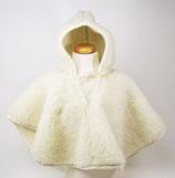 Poncho en laine naturelle de mouton blanc cassé