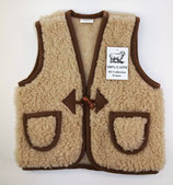 Gilet enfant en laine naturelle de mouton marron