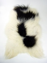 Peau de mouton islandaise naturelle noire et blanche