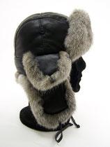 Chapeau homme en cuir d'Agneau noir et fourrure naturelle de Lapin VICTOR