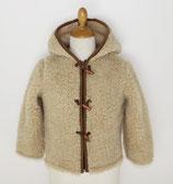 Gilet capuche enfant en laine naturelle de mouton marron