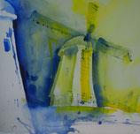 Windmühle in gelb blau weiß