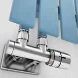 EXCELLENCE Multiblock Verbundventil Chrom mit Rohrabdeckung und Thermostatkopf