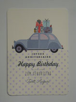 Postkarte Ellybis - Happy Birthday, Auto