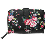 CK - Black Spray Flowers Folded Zip Wallet