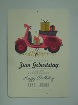 Postkarte Ellybis - Happy Birthday, Vespa
