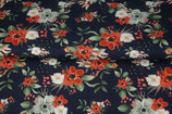 French Terry Digital Print - Blumen Marine