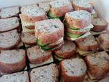 10x Triple layered mini sammy with Freshly baked wholemeal spelt and seed bread.