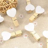 Holzklammern mit Herz weiss