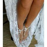 Perlenfusskette mit Ring
