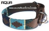 Aqua Dog Collar - Green/Aqua/Navy/Cream Stripe