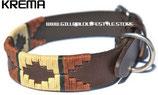 Krema Dog Collar - Copper/Beige/Green Stripe