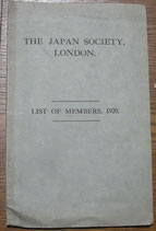 The Japan Society, London  List of Members,1920