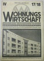 WOHNUNGSWIRTSCHAFT 1927年9月15日