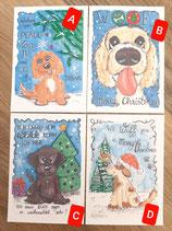 """Weihnachtsgrußkarten """"Hunde"""""""