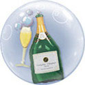 Bubble Ballons Doppel / Bubbly Wine Bottle & Glass