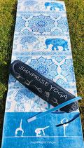 Sunprise Yoga Blue Elephant Premium Qualität Yogamatte inkl. Tasche, Trainingsmatte, Gymnastikmatte, Sportmatte