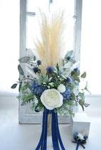 再販・パンパスグラスとブルーのお花のナチュラル・クラッチブーケ(定番ブーケ)