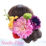 *送料無料*エレガントなダリア2輪とラン、マム、アジサイとタッセルの髪飾り 14点セット(造花)