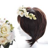 アンティークカラーのクラッチブーケと髪飾り(造花)