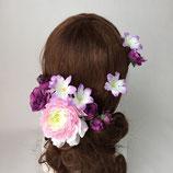 ピンクと紫のお花のヘアーパーツ・セット