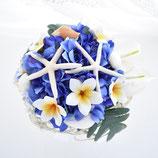 スターフィッシュとプルメリア、アジサイのクランツ・ブーケ(造花ブーケ)