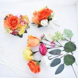 チューリップとバラのリストレット、ブトニア、ヘアーパーツの3点セット