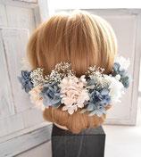 グレイッシュ・ブルーのアジサイのヘアーパーツ