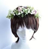 花冠:スズランとピンクのミニバラ