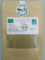 Basilic vert, poudre extra fine de feuilles séchées émondées pour la cuisine