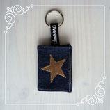 Schlüsselanhänger Jeans dunkel/Stern beige
