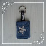 Schlüsselanhänger Jeans/Stern silber