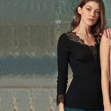 Pull en laine et soie Oscalito -  5852 (noir)- Manche longue
