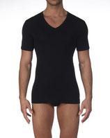 Tee-Shirt Oscalito 742 - Noir - à encolure en V - Filoscozia