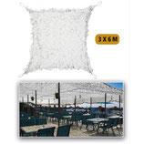 Filet de camouflage renforcé Blanc 3m x 6m +câble acier 70/80% d ombrage
