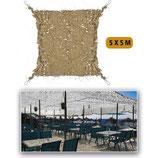 Filet de camouflage renforcé Sable 5m x 5m +câble acier 70/80% d ombrage