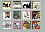 "12 Briefmarken ""AC"" Sort. I"