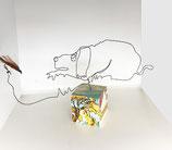 """""""Hund mit Fliege"""" - Eindrahtfigur auf kleinem Sockel"""